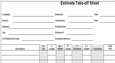 Mechanical Plumbing Estimating Sheets